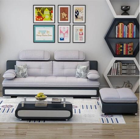 布艺沙发三人位皮布小沙发简约现代客厅家具沙发